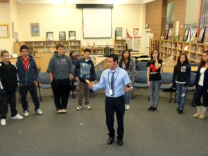 "Juarez shares his ""La Semilla"" workshop with 60 students at Cascade Middle School."